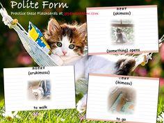 Japanese verbs to study: akimasu, arukimasu, ikimasu To practice the flashcards, go to JapaneseMeow.com