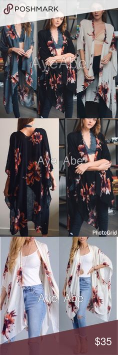 "Floral print kimono scarf cover up beach trendy New Floral print kimono wrap coverup , black, cream or charcoal. Beach Trendy boho chic. Fabric: 100% viscose . Measurement 38""x46"" Accessories Scarves & Wraps"