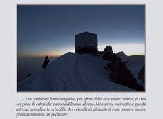 Una pagina del libro.La capanna Vallot al monte Bianco.