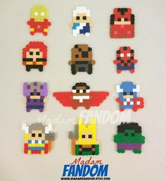 ◄► These are original MadamFANDOM designs. Truly unique gifts for your party goers! ◄► The perfect party favors for your superhero party! Perler Beads, Perler Bead Art, Fuse Beads, Melty Bead Patterns, Pearler Bead Patterns, Perler Patterns, Beading Patterns, Perler Bead Designs, Hama Beads Design