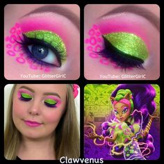 Today's look is inspired by one of the fusions from the latest Monster High movie, Freaky Fusion! Her name is Clawvenus and she's a fusion of Clawdeen Wolf and Venus McFlytrap, w. Horror Makeup, Scary Makeup, Diy Makeup, Makeup Looks, Makeup Ideas, Monster High Birthday, Monster High Party, Zombie Halloween Makeup, Halloween Costumes