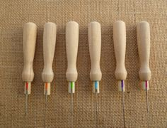 6 wooden felting handles   felting needles by SuesCountryCreations