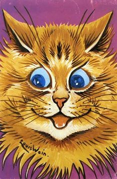 Enthusiastic  Cat   Louis Wain