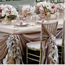 Stunning chair cover with matching centre pieces!