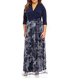 Leslie Fay Plus 34 Sleeve Wrap Long Sequin Maxi Dress #Dillards
