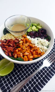 The Perfect Fall Salad - Sweet Potatoes, Bacon, Cranberries, Avocado, Slivered Almonds, Goat Cheese, with Creamy Tahini Lime Dressing