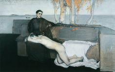 Magnus Enckell (Finnish, 1870 – - Melancholy, 1895 Oil on canvas Klimt, Meaningful Paintings, Vintage Horror, Rembrandt, Figure Painting, Art Google, Figurative Art, Helsinki, Paintings