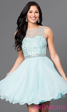 Short Homecoming Dress with Embellished-Illusion Back at PromGirl.com
