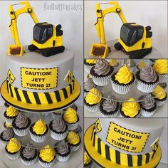 - Construction Themed Fondant Art Cake with Layers of Chocolate Cupcake, Topped with Colorful Buttercream Frosting on Top! TAG a Cake Lover! Cake by: (Cake Boy Construction) Digger Birthday, 2nd Birthday Boys, 3rd Birthday Parties, Cake Birthday, Boys 2nd Birthday Party Ideas, 2 Year Old Birthday, Birthday Banners, Construction Cupcakes, Construction Birthday Parties