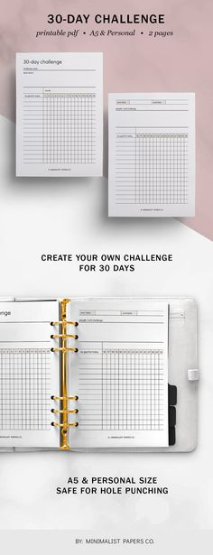 30 Day Challenge and Challenge Tracker, Fitness Goals and Workout Planner, Tracker Insert, and Habit Printable Minimalist Planner For Individual Who Loves Minimalistic And Clean Design, Instant Download! #habitracker #etsyplanners #30daychallenge #challengetracker #fitnessgoals #routinetracker #trackerinsert Workout Planner, Fitness Planner, Fitness Goals, Printable Planner, Printables, Planner Dividers, 30 Day Challenge, Papers Co, Hole Punch