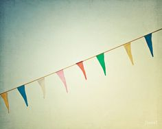"Carnival Photography - Bunting Flag Garland Photo  - Dreamy and Vintage Inspired - Home Decor - Baby Nursery - Fine Art Photo- ""Joyous"". $25.00, via Etsy."