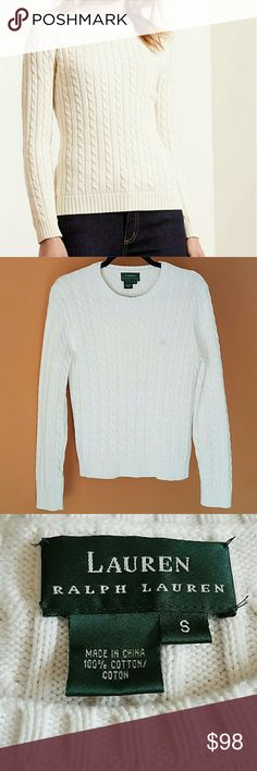 """LAUREN Ralph Lauren Cable-knit Sweater In great gently loved condition! Refreshing Cream Cable-knit Sweater from a soft 100% cotton blend. Ralph Lauren's LAUREN Brand. Its heritage inspired style is enhanced by a Pink """"LRL"""" monogram embroidered at the left chest. Women's size Small. Measurements available upon request. No piling, rips, tears, or stains. Please use the offer button for all offers. Feel free to bundle for a great discount! No trades, ladies. Lauren Ralph Lauren Sweaters Crew…"""