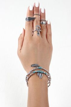 Feather Bracelets and Ankh Ring Set