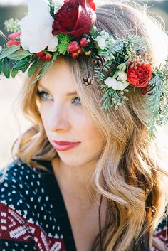 Winter Rose Floral Crown for a Bohemian Bride | Nicole Colwell Photography | Festive Styled Wedding in the Winter Woods - with a Corgi in a Holiday Sweater!
