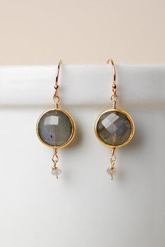 Moonstruck Labradorite and Gold Simple Dangle Earrings