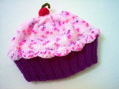 Handmade hand knit Cupcake Hat with Cherry. @christinareyes! Miss Layla cup cake would look cute in this!!