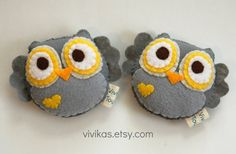 Yellow & Grey Plush Toy Owl / Eco Friendly stuffed toy by vivikas, $15.00