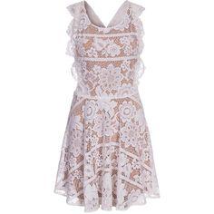 For Love & Lemons Gianna Dress (420 CHF) ❤ liked on Polyvore featuring dresses, cutout dress, cross dress, crochet cut out dress, macrame dress and pink cut out dress