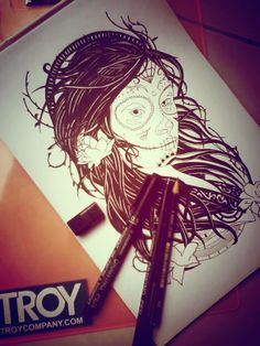 #sneakpeak #girl #sugarskull #drawing #troycompany.com