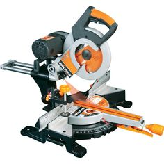 Evolution RAGE Dual Bevel Sliding Compound Miter Saw at Lowe's. Utilizing RAGE technology this double bevel miter saw easily cuts steel, aluminum and wood (even wood with nails), using just one blade. When cutting Sliding Mitre Saw, Sliding Compound Miter Saw, Compound Mitre Saw, Miter Saw Laser, Miter Saw Reviews, Saw Stand, Multi Usage, Furniture, Bricolage