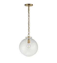 Visual Comfort TOB5226HAB-G4-CG Thomas O'Brien Ceiling Lights Katie Globe Pendant in Hand-Rubbed Antique Brass with Clear Glass