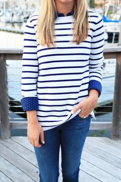 Stripes with tiny polka dots on the collared shirt underneath. Love.