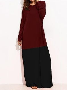 Casual Patchwork Loose Long Sleeve O-neck Women Maxi Dresses