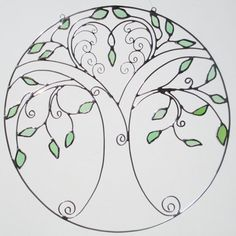 Love Tree of Life Stained Glass and Wire Circle by FiveSparrows