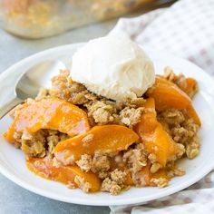 This healthier fresh apricot crisp is naturally sweetened with honey and pure maple syrup. You can also use peaches and nectarines in this easy crisp!