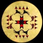 Taos Drums, Native American, pueblo, log, hand drums, rawhide lampshades, wrought iron lamps, beaters, rattles, and more Southwestern artifacts, sheep skin lamp shades. - Teepee and Buffalo (E2)