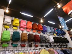 Impressive School Bag Display for Back to School  love the idea of a rainbow color collection of bags..different silhouettes