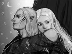 The Warden leaning upon her beloved Zevran. Dragon Age Origins. ~The Crow and the Warden by DancinFox on deviantART