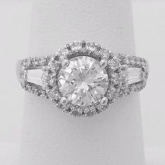 Big 1 Carat Cubic Zirconia Halo Engagement Ring with Baguette Stones – CZ Sparkle Jewelry®
