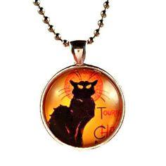 Atkinson Creations Halloween Le Chat Noir 'The Black Cat' Glass Dome Pendant Necklace