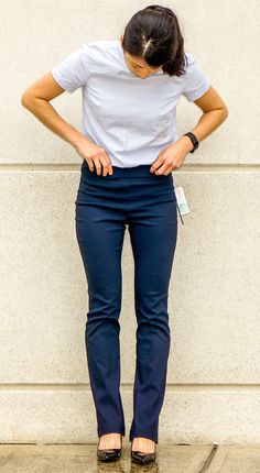 MARGARET M Emer Bootcut Pant - I'd like them in bootcut length/width in Navy like this picture!