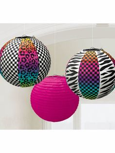 3 x 1980 1980's 80's Disco Birthday Party Assorted Paper Lantern Decoration #Amscan #AllOccasions