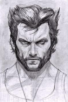 hugh jackman portrait from a while ago i forgot to post wolverine !