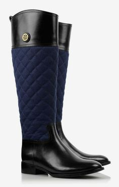 What a great riding boot. tory burch navy and black boots #Shoes #ItsAFetish