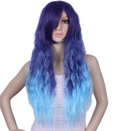 Diforbeauty Women Long Full Curly Wave Synthetic Hair Cosplay Wigs (Water Blue Ombre) ** This is an Amazon Affiliate link. For more information, visit image link.