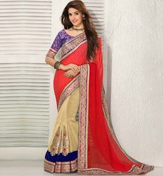 #LATEST #SAREE #BLOUSE PATTERNS WITH LACE BORDERS. RED & BEIGE SHADED PURE GEORGETTE #SARI WITH CONTRAST JACKET.