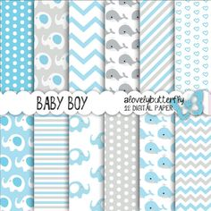 Blue grey elephant digital paper, baby whales, Baby boy Digital Paper Pack, dots, chevron, baby Scrapbooking, INSTANT DOWNLOAD on Etsy, $5.46 AUD