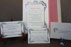 Elizabeth and Jonathan: art deco wedding invitation suite with silver foil stamp, black letterpress and patterned liner Art Deco Wedding Invitations, Wedding Invitation Suite, Foil Stamping, Our Love, Letterpress, Paper, Silver, Pink, Black