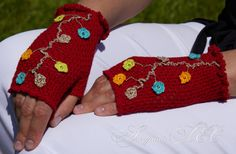 Crochet  Fingerless Gloves Arm Warmers Fingerless Mittens Hand