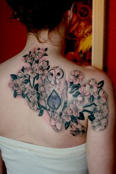 Owl and dogwood flowers by Cara Hanson tattoosbycara.com