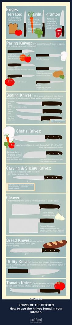KNIVES OF THE KITCHEN How to use the knives found in your kitchen