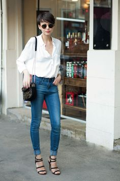 Blue jeans and heels.