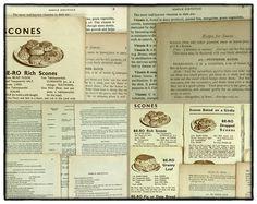Vintage paper ephemera pack 15 old cookery by LindenTreeVintage