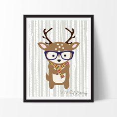 Hipster Woodland Deer Art Print, Nursery Decor by VividEditions.com