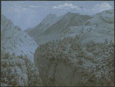 Eugène Viollet-le-Duc, chemin dit des Echelles au dessus de Luz, 17 juillet 1833 Papier bleu, crayon, rehauts Ministère de la Culture (France), Médiathèque de l'architecture et du patrimoine, dist. RMN