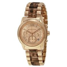 Pre-owned Michael Kors MK6155 Rose Gold Stainless Steel Rose Gold Dial... ($120) ❤ liked on Polyvore featuring jewelry, watches, chronos watch, rose jewellery, gold plated stainless steel jewelry, dial watches and gold stainless steel jewelry